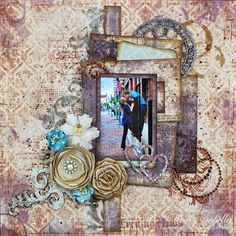 """Garden of Grace: """"Never Let Me Go"""" Mixed Media Engagement Layout for Leaky Shed Studio"""
