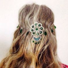 Emerald Green - Crone - Headpiece - Bohemian - Tribal - Gypsy - Belly Dancer - recycled materials <3