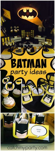 Check out this modern take on Batman in black, yellow, white and grey! See more party ideas at CatchMyParty.com!