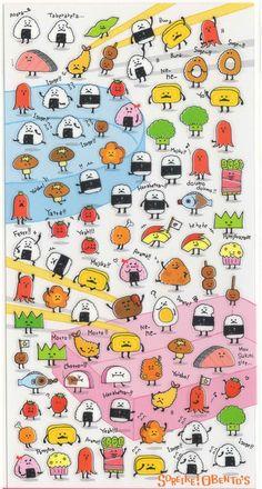 Kawaii Japan Sticker Sheet Assort: Cute Derpy Japanese Foods Bento Riceball Sushi Monster Characters by mautio