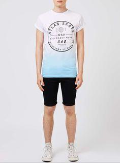 Blue and White Atlas Skate Print T-Shirt