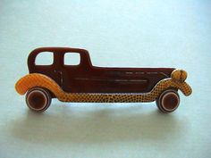 Lea Stein Brooch Pin Rolls Royce Brown Yellow Vintage Plastic Celluloid Signed