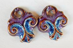 Handmade porcelain Earring Pairs charms   boho-chic por Majoyoal