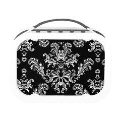 Customizable White #vintage #damask on Black #LunchBox by #PLdesign #BlackAndWhite