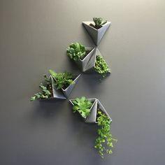 Tesselation / / moderne Wand-Pflanzer / / Satz Tesselation // Modern Wall Planter // Set of 3 Vertical Wall Planters, Wall Mounted Planters Indoor, Vertical Gardens, Decoration Plante, Deco Floral, Modern Wall Decor, Modern Room, Modern Living, Modern Art