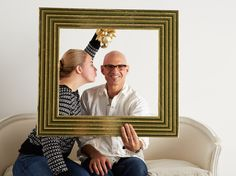 Instant photo booth: Capture a holiday smooch behind a fancy picture frame.