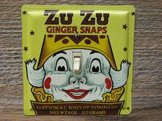 Zu Zu The Clown Decor Vintage Tin Light Switch Cover Switchplate Made From An Old Ginger Snaps Nabisco Advertising Tins Can Single SP-0154 #clowndecor #advertisingtins #switchplate