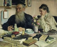 Leo Tolstoy with his wife in Yasnaya Polyana, 1907 Russian Painting, Russian Art, Figure Painting, Ilya Repin, Leo Tolstoi, Art Of Love, Ukrainian Art, American Gothic, Painted Books
