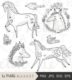 Hand Drawn Horse Clip Art, Cute Pony Clipart, Hand Drawn Horse Portrait Clipart, Floral Horse Clipart, Farm Animal Clipart, Beautiful Horses
