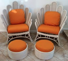 Vintage PR Mid Century Rattan Bamboo Living Room Lounge Chairs + Ottomans / wow. just, wow.