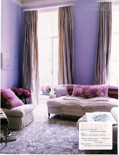 this season's favorite color to decorate a living room. all purples, i didn't realize this could be done!