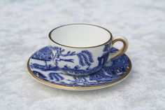 FREE SHIPPING Vintage Coalport Miniature Tiny Blue Willow Pattern Cup and Saucer by thevintagemart on Etsy