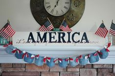 """When I told you the """" Pocket Full of Posies"""" denim pocket banner was versatile. I meant it. By simply adding a splash of red . Pennant Banners, Bunting Banner, Fourth Of July Decor, 4th Of July, Blue Crafts, Diy Crafts, Patriotic Bunting, Denim Decor, Pen And Paper"""