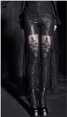 Goth Punk Embossed Lace Leather Splice Leggings Strings Vintage Palace Retro