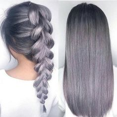 Metallic Lilac Grey hair colour and delightful braid by Kuhn.milo - Hair World Lilac Grey Hair, Hair Color Purple, Cool Hair Color, Gray Ombre, Purple Gray, Purple Ombre, Silver Ombre, Silver Lavender Hair, Pastel Purple