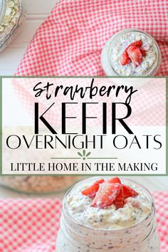 These healthy overnight oats are loaded with probiotic-rich kefir, superfood chia, and wholesome oats. This healthy meal prep idea is a breakfast in a jar! Strawberry Kefir Overnight Oats are going to be your new healthy breakfast favorite.
