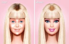 """Barbie without makeup! By Mexican artist Eddi Aguirre """"before & after"""" series of Barbie."""