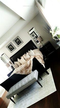 31 Ideas Bedroom Black Furniture Grey For 2019 Black Bedroom Furniture, Bedroom Black, Home Decor Bedroom, Living Room Furniture, Master Bedroom, Cozy Bedroom, Summer Bedroom, Mirror Bedroom, Budget Bedroom