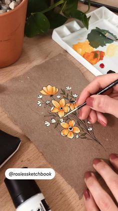 Gouache Painting, Diy Painting, Painting & Drawing, Acrylic Art, Acrylic Painting Flowers, Flower Paintings, Simple Flower Painting, Flower Art Drawing, Flower Drawings
