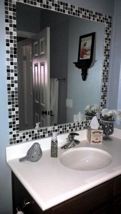 Bathroom mirror re-do. Tiled frame right on top of the builder mirror. Will be trying this in my half bath. Bathroom Renos, Small Bathroom, Bathroom Ideas, Mirror Makeover, Home Repairs, Diy Bedroom Decor, Home Decor, Home Projects, Home Remodeling