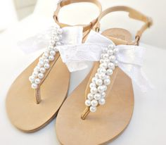 69b3041ffa6f0a Bridal sandals- Greek leather sandals-Wedding sandals decorated with white  pearls and satin lace bow -White women flats- Bridesmaid sandals