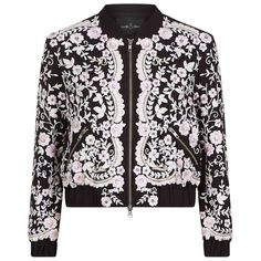 Needle & Thread Embroidery Prairie Bomber Jacket (17.610 RUB) ❤ liked on Polyvore featuring outerwear, jackets, floral print jacket, embellished jacket, sequin bomber jacket, blouson jacket and floral print bomber jacket