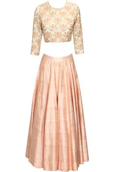 Peach floral dori embroidered jaal pattern lehenga set available only at Pernia's Pop Up Shop.