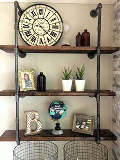 wood and pipe shelf