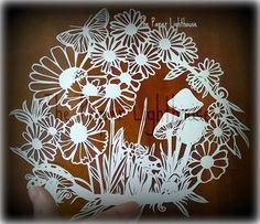 Cut Your Own Daisy Garden  Paper Cut Template - PERSONAL Use JPEG daisy, flower, butterfly, toadstool, mushroom, fairy