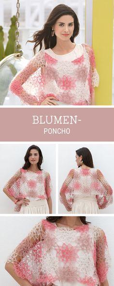 Leichten Poncho für den Sommer häkeln, Häkelanleitung / crocheting pattern for a summerly poncho with floral pattern via DaWanda.com
