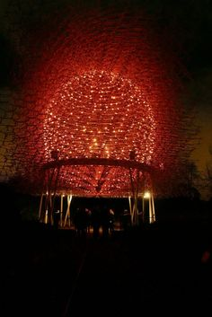 Visitors can experience the Hive, which is beautifully lit up by LED lights that pulse in time with the activity of the bees within a real bee hive at Kew, at Christmas at Kew Thought Provoking, Bees, Light Up, Art Work, Garden Sculpture, Sculptures, In This Moment, Flowers, Christmas