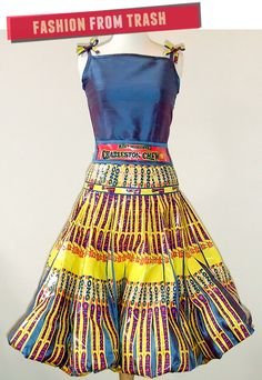 Bubby and Bean ::: Living Creatively: Fashion from Trash // My Recycled Candy Wrapper Dress