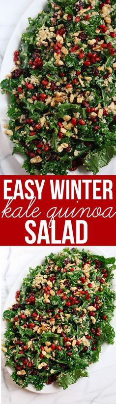 This Winter Kale and Quinoa Salad makes the perfect healthy holiday side dish that is sweet crunchy and super easy to make! This Winter Kale and Quinoa Salad makes the perfect healthy holiday side dish that is sweet crunchy and super easy to make! Healthy Salad Recipes, Healthy Drinks, Whole Food Recipes, Healthy Snacks, Vegetarian Recipes, Healthy Eating, Cooking Recipes, Recipes Dinner, Cooking Corn