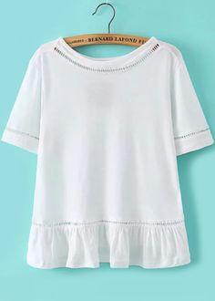 Peplum Hem Hollow White T-shirt