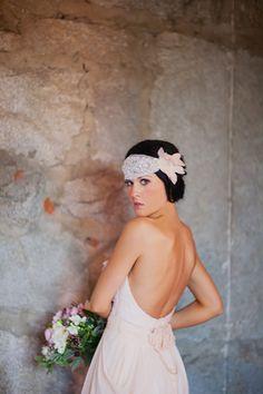 Kate, Boho Veil, Crystal Beaded Headpiece, Veil, Bandeau, Bohemian Headpiece, Wedding Headpiece