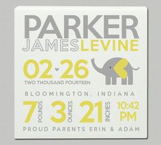 Birth announcement print on canvas ELEPHANT yellow and gray birth print poster on wood frame diy wall art Baby Poster, Poster On, Poster Prints, Birth Announcement Boy, Birth Announcements, Diy Baby Gifts, Baby Birth, Baby Baby, Diy Canvas