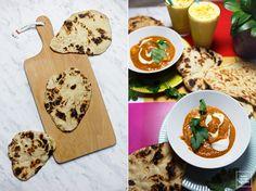 Chleb z patelni- indyjskie chlebki naan. Indyjskie pieczywo, płaskie chlebki pieczone na patelni. Naan, Hummus, Dairy, Food And Drink, Menu, Ethnic Recipes, Impreza, Cooking, Menu Board Design