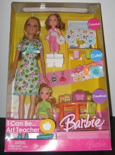 New 2006 Barbie I Can Be Art Teacher 2 Kelly Dolls with Accessories | eBay
