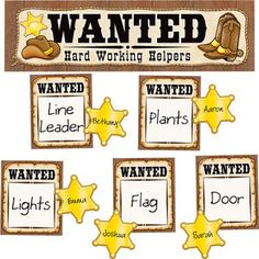 Wanted: Western Helpers Mini Bulletin Board Set