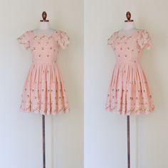 vintage 1960s pink floral dress  by inheritedattire