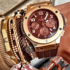 How serious is this WristGame from @whatusmenlike Hublot Big Bang in rose gold Fred Anil Arjandas and FMBM bracelets. Deadly slayage! by wristgamers