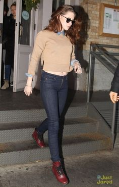 Kristen Stewart wearing Cartier Juste Un Clou Bracelet, 7 For All Mankind the Slim Cigarette Jeans, Iwona Ludyga Designs Red and Gold Beaded Tribe Flag Bracelet, Dr. Martens Leyton Leather Sneaker and Cozy Camel Merino Sweater Fall 2012.