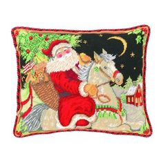 Christmas Midnight Ride Needlepoint Pillow - Susan Winget - Peking Handicraft