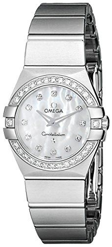 Omega Womens MotherofPearl Dial Diamond Accent Watch 12315246055001 >>> Click image to review more details.