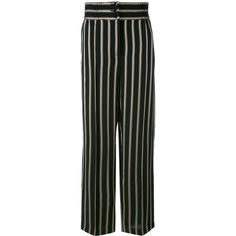Etro striped straight trousers ($440) ❤ liked on Polyvore featuring pants, black, rayon pants, striped trousers, etro pants, viscose pants and striped pants