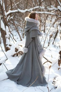 Heritrix of the Winter Wool Coat - medieval renaissance cloak cape fantasy ONLY $885: