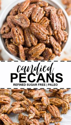 Candied Pecans [Refined Sugar Free] Candied pecans are the perfect thanksgiving appetizer or snack! They are also great on top of salads and sweet potatoes. You will love how easy these refined sugar free pecans are. Healthy Baking, Healthy Snacks, Healthy Recipes, Healthy Appetizers, Healthy Candy, Easy Snacks, Thanksgiving Appetizers, Thanksgiving Recipes, Thanksgiving Quotes