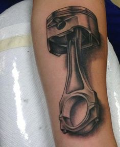 Old School Men's Car Tattoo Of Piston