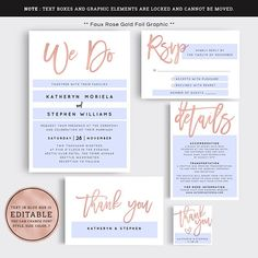 "#ESW011 ** This listing is ""DIGITAL FILE(S)"". No physical product will be shipped to you.** *** Faux rose gold foil graphic *** Faux rose gold wedding invitation suite. This PDF template set includes: Wedding invitation card, RSVP card, RSVP card with meal choices , Thank you card"