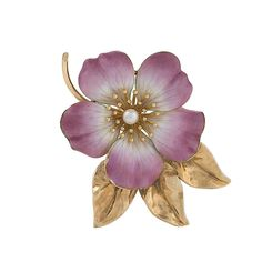Hedges & Co. Art Nouveau Pearl, Gold and Enamel Flower Brooch | From a unique collection of vintage brooches at https://www.1stdibs.com/jewelry/brooches/brooches/